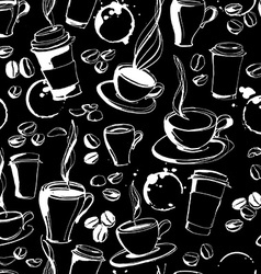 Grungy hand drawn ink coffee to go cups mugs and vector