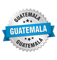 Guatemala round silver badge with blue ribbon vector