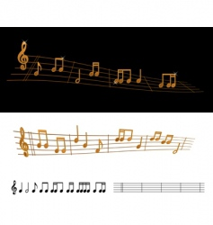 gold sheet music vector image