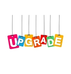 Colorful hanging cardboard tags - upgrade vector