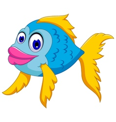 Cute fish cartoon posing vector