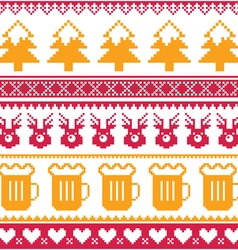 Christmas seamless pattern with beer reindeer vector
