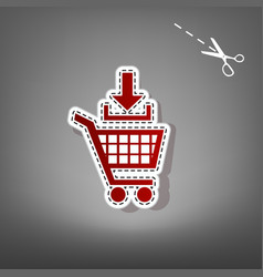 Add to shopping cart sign red icon with vector