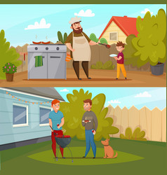 barbecue party banner set vector image vector image