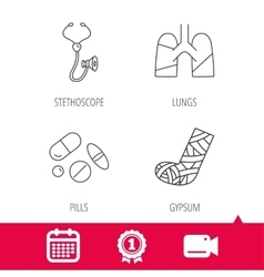 Broken foot lungs and medical pills icons vector image vector image