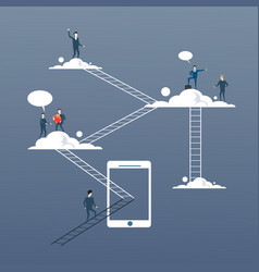 Business people group on clouds connection vector