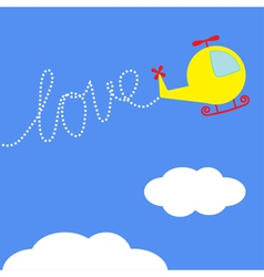 Cartoon helicopter dash word love in the sky card vector