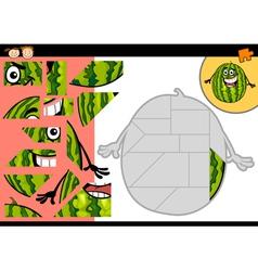 Cartoon watermelon jigsaw puzzle game vector