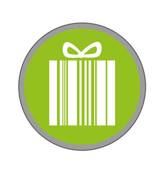 Giftbox present with barcode isolated icon vector
