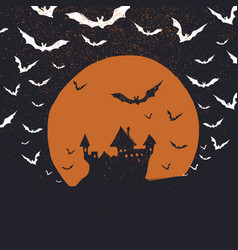 Halloween poster background castle bats and moon vector