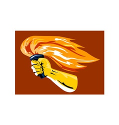 Hand holding burning flaming torch vector