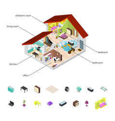 House in cutaway and element set isometric view vector