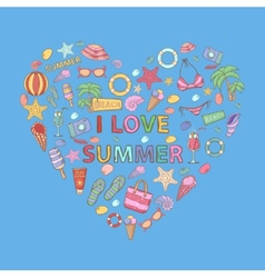 I love summer in the shape of heart vector