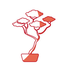 Japanese bonsai tree natural hobby shadow vector