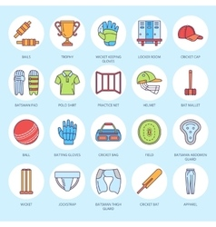 line icons of cricket sport game Ball bat vector image vector image