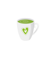 mug of green tea isolated vector image