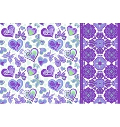 Pattern set with butterflies hearts and vector