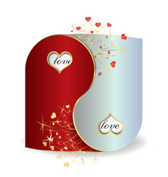 Postcard yin and yang valentines day vector