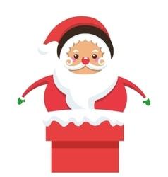 Santa claus stuck on chimney icon vector