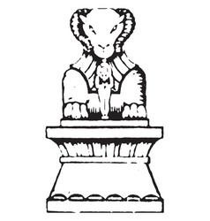 Sculpture is of ancient pedestal statue vintage vector