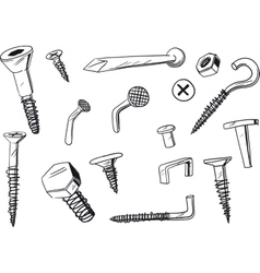 set of fasteners vector image