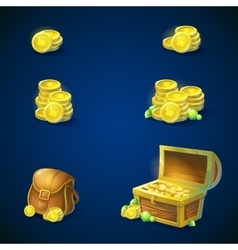 Set of objects - coins chest emeralds bag vector image