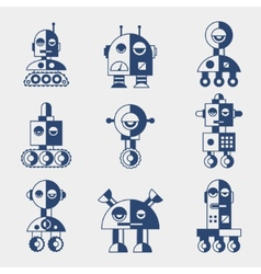Set of robots in flat style vector image vector image
