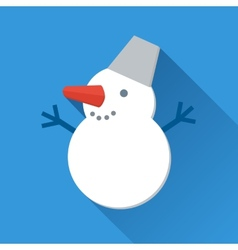 Smiling snowman icon in flat style vector image vector image