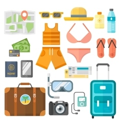Summer vacation symbols beach travel holiday vector image vector image