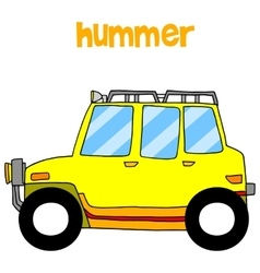 Transportation of yellow hummer vector image