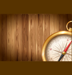 Vintage compass on wooden background vector