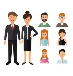white background with full body executive couple vector image