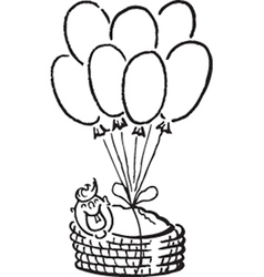 Baby and balloons vector image