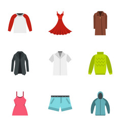 Fashion collection of woman wardrobe icons set vector