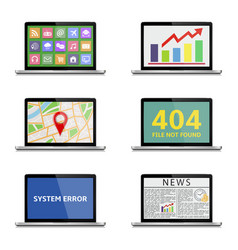 various laptop icons isolated on white vector image
