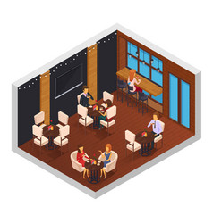 Cafe restaurant isometric interior vector