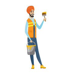 Hindu house painter with brush and bucket of paint vector