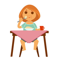 Little redhead girl sits at table and has vector