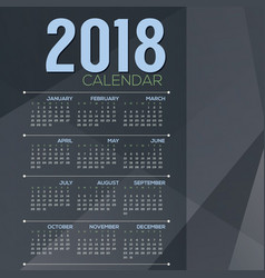 2018 blue grey color tone printable calendar vector