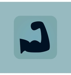 Pale blue muscular arm icon vector