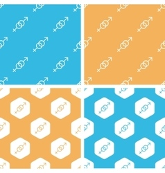 Gender signs pattern set colored vector