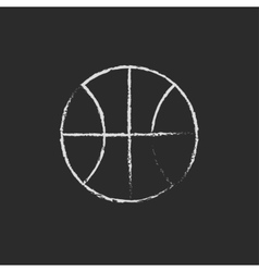 Basketball ball icon drawn in chalk vector