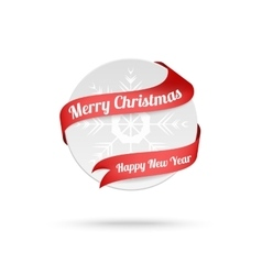 Christmas medal with red ribbon isolated on white vector