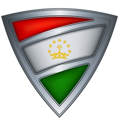 Steel shield with flag tajikistan vector