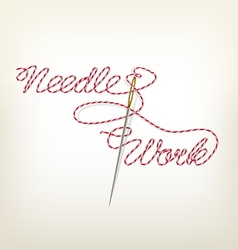 Sewing needle with red thread needle work vector