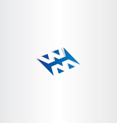 Blue logo logotype letter w and m vector