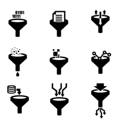 black filter data icon set vector image