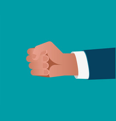 businessman fist on blue background vector image vector image