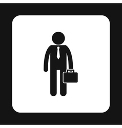 Businessman with briefcase icon simple style vector image