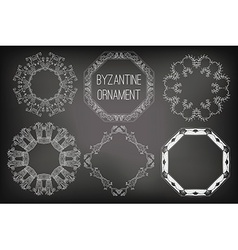 Byzantine Ornament Painted White Chalk on a vector image vector image